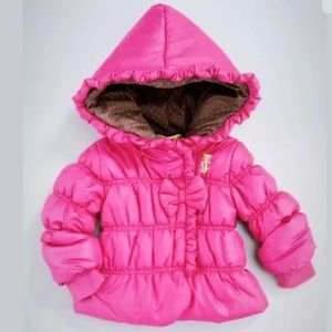 Juicy Couture Quilted Hooded Ruffle Trim Jacket